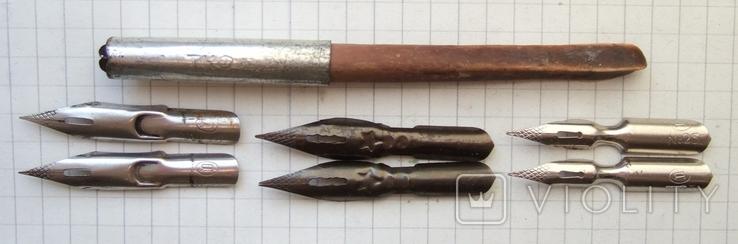 Ручка-держатель из иглы морского ежа + 2 пера №11 + 2 пера № 12 + 2 пера № 23, фото №2