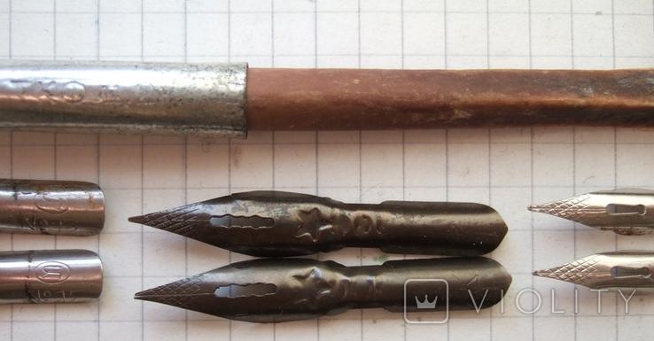 Ручка-держатель из иглы морского ежа + 2 пера №11 + 2 пера № 12 + 2 пера № 23, фото №4