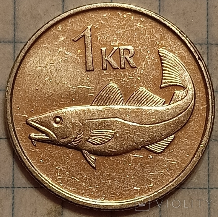 Исландия 1 крона 1999, фото №2