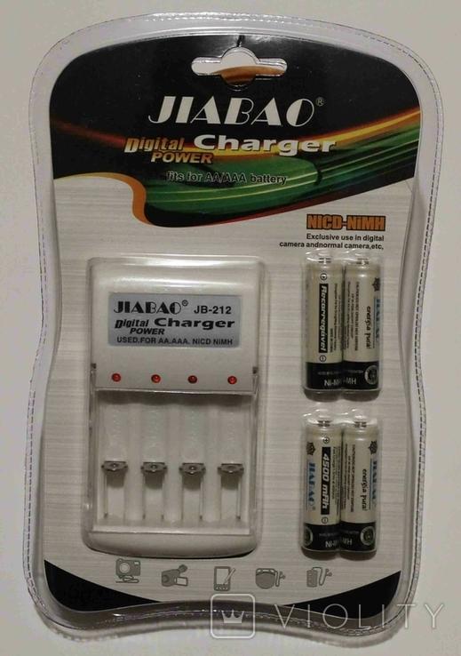 Универсальное зарядное устройство для батареек AAA AA Jiabao + 4 аккумулятора АА, фото №2