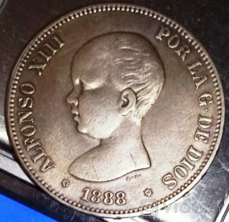 5 песет 1888 року Іспанія /рідкісна по каталогу МS-M /, фото №2