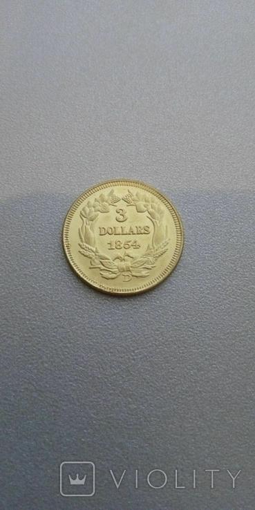 3 доллара 1854 года США, копия, фото №2