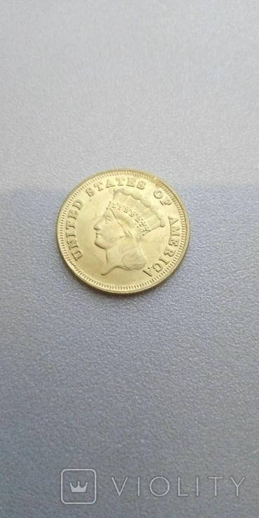 3 доллара 1854 года США, копия, фото №3