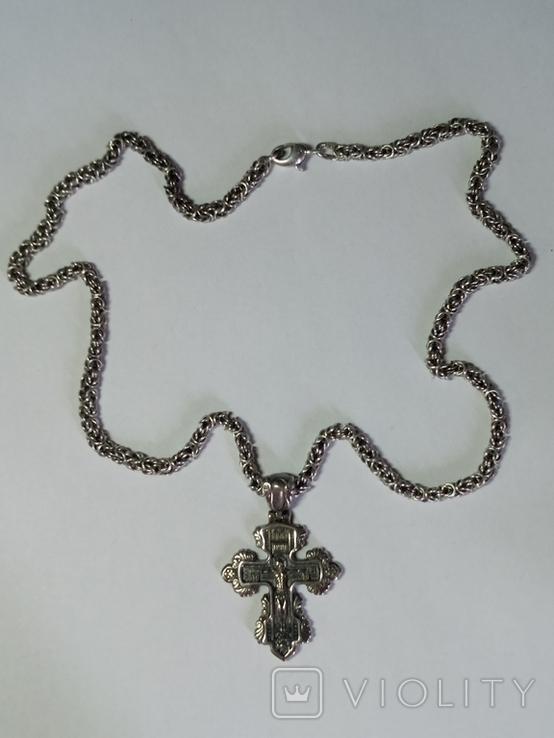 Крест и цепочка серебро 925 проба, (45гр.), фото №2