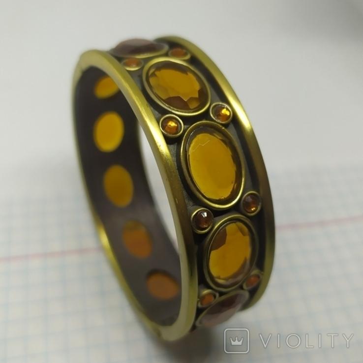Разжимной браслет с оранжевыми камнями. Тяжеленький (3), фото №3