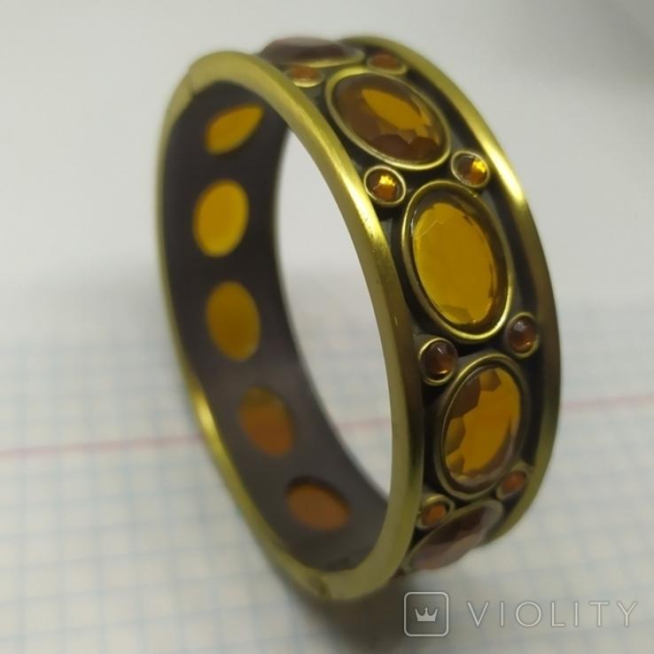 Разжимной браслет с оранжевыми камнями. Тяжеленький (3), фото №2