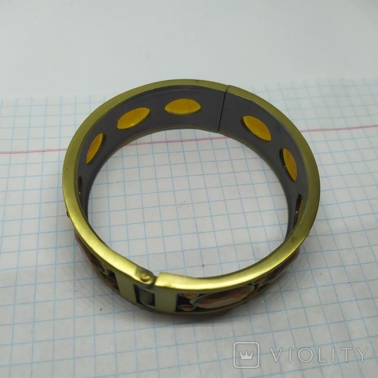 Разжимной браслет с оранжевыми камнями. Тяжеленький (3), фото №4