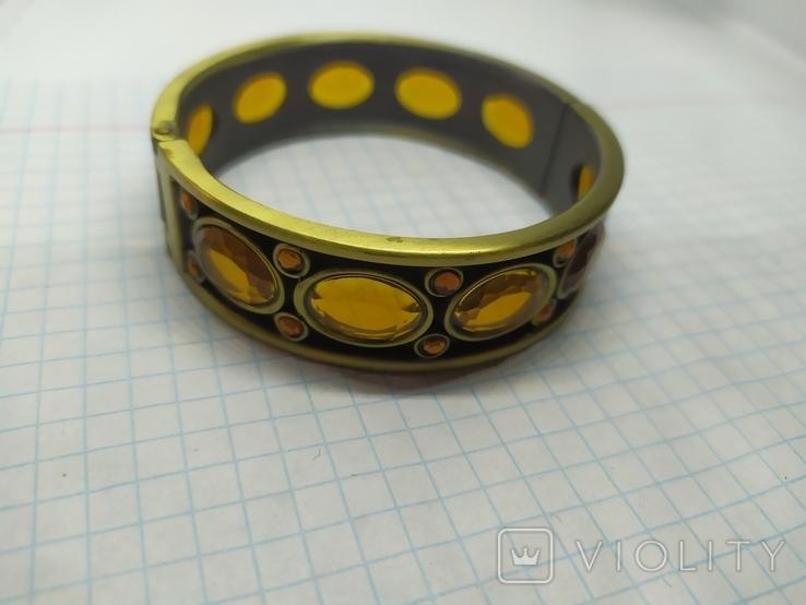 Разжимной браслет с оранжевыми камнями. Тяжеленький (3), фото №6
