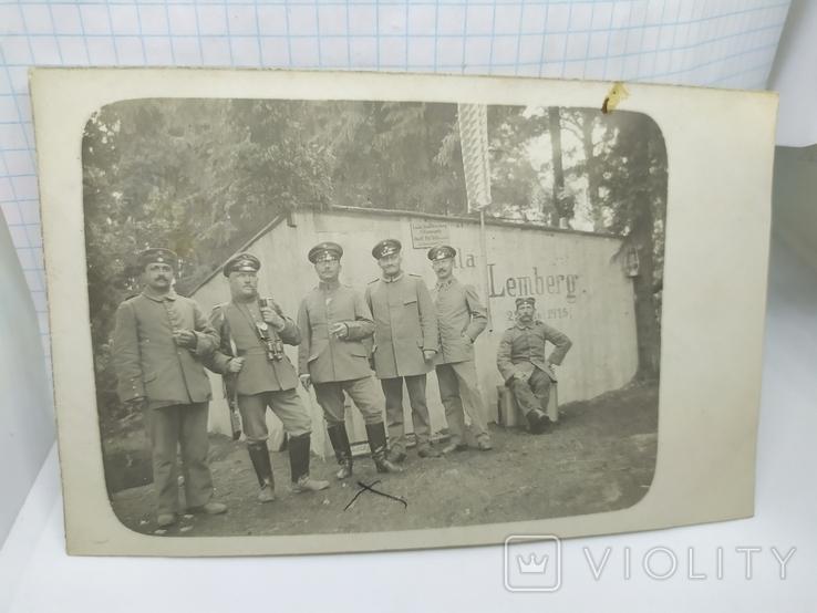 Фото военных Германии на фоне домика с надписью Zemberg (Львов), фото №2