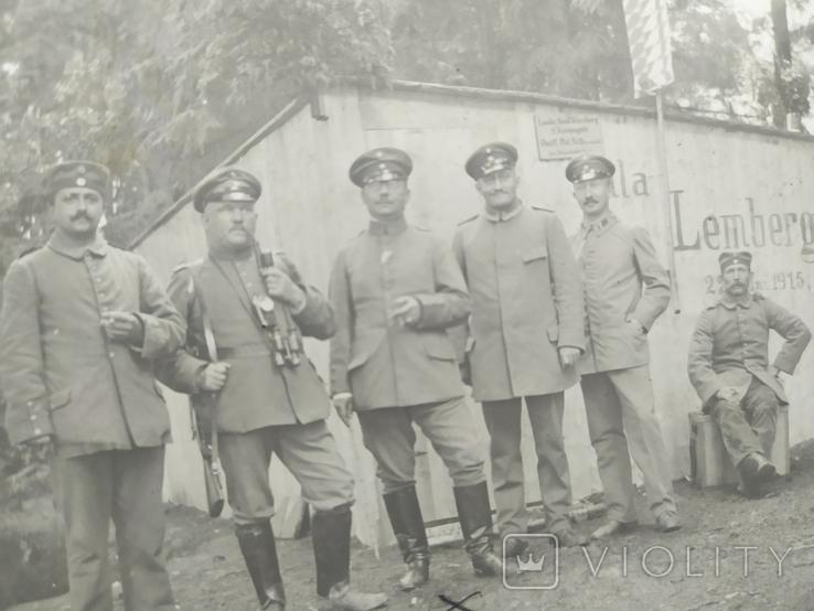 Фото военных Германии на фоне домика с надписью Zemberg (Львов), фото №4