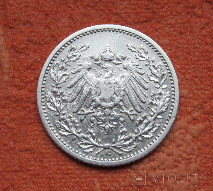 1/2 марки 1908 г. (G) Германия, серебро, фото №3