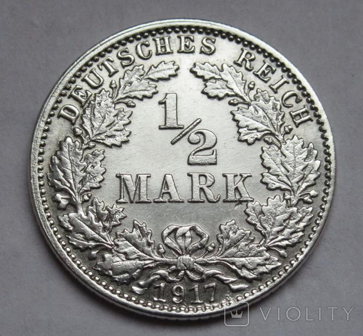 1/2 марки 1917 г. (J) Германия, серебро, фото №2