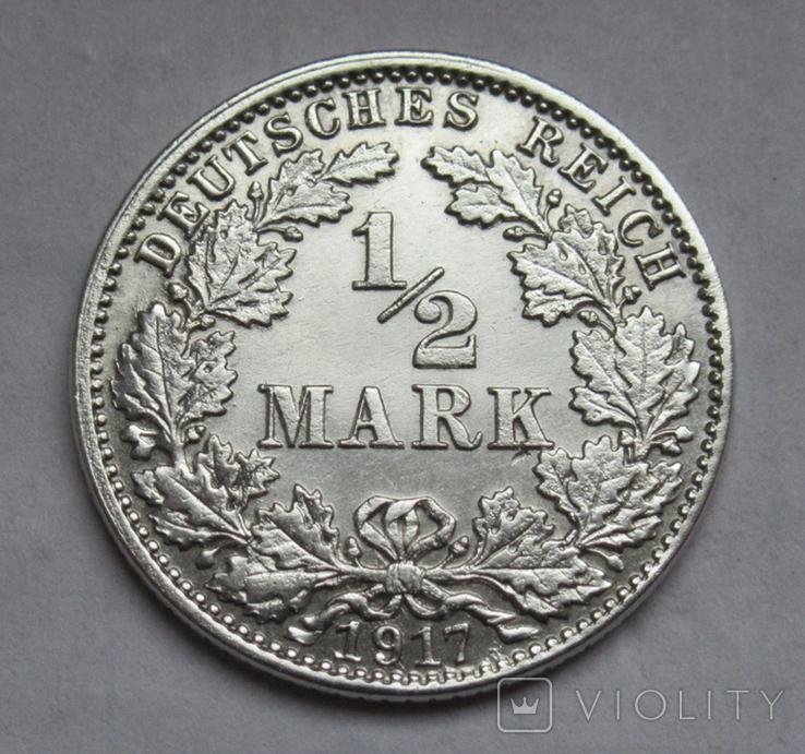 1/2 марки 1917 г. (J) Германия, серебро, фото №3