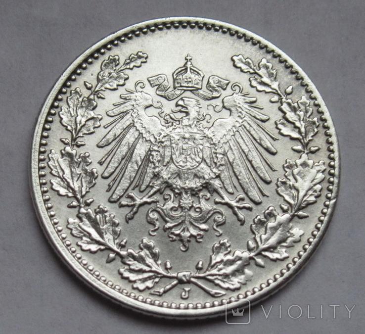 1/2 марки 1917 г. (J) Германия, серебро, фото №5