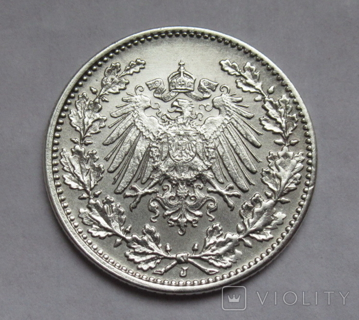 1/2 марки 1917 г. (J) Германия, серебро, фото №6