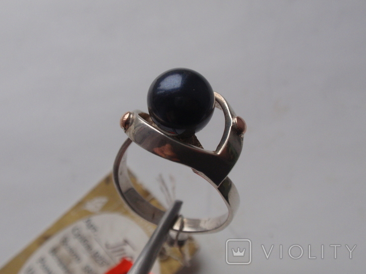 Новый набор серьги-кольцо. Серебро 925, золото, черный жемчуг. Размер 19, фото №7
