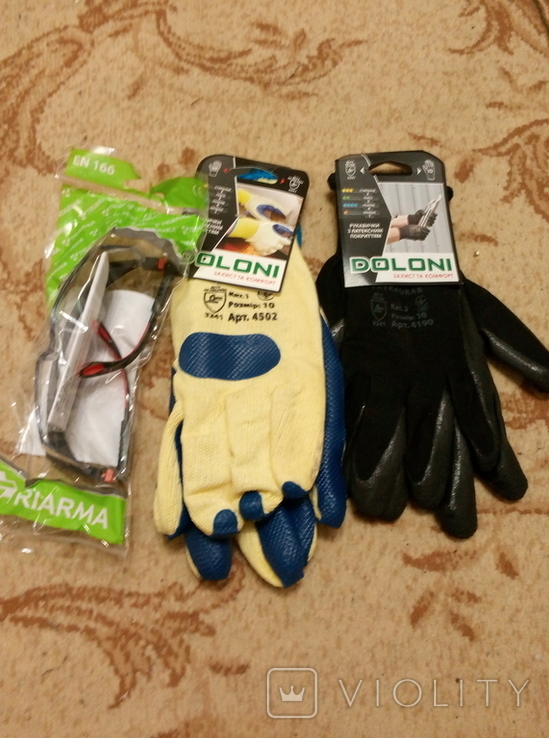 Набор строителя. /Очки плюс 2 пары перчаток/., фото №2
