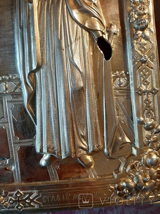 Икона Максим и Миланья, огненное золочение 36 х 31 см. 84 проба,, фото №3