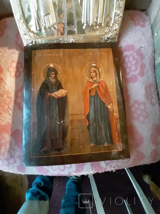 Икона Максим и Миланья, огненное золочение 36 х 31 см. 84 проба,, фото №8