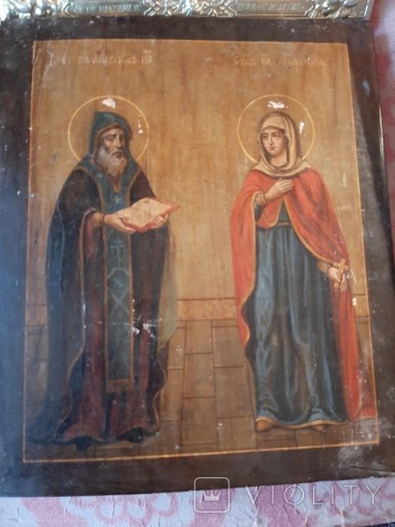 Икона Максим и Миланья, огненное золочение 36 х 31 см. 84 проба,, фото №10