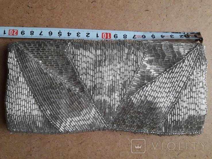 Клатч футляр для ювелирных украшений расшитый серебристым бисером, новый, фото №5