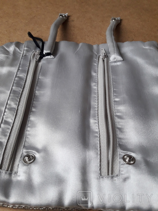 Клатч футляр для ювелирных украшений расшитый серебристым бисером, новый, фото №6