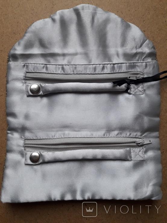 Клатч футляр для ювелирных украшений расшитый серебристым бисером, новый, фото №7