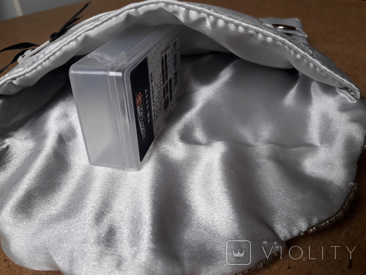Клатч футляр для ювелирных украшений расшитый серебристым бисером, новый, фото №8