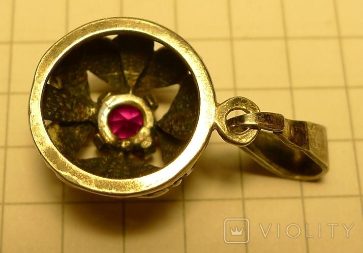 Объёмный кулон с красным камнем серебро 900 проба . Клеймо., фото №5
