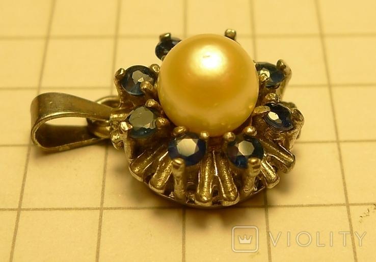 Кулон с голубыми камнями и жемчужиной 925 проба серебро., фото №3