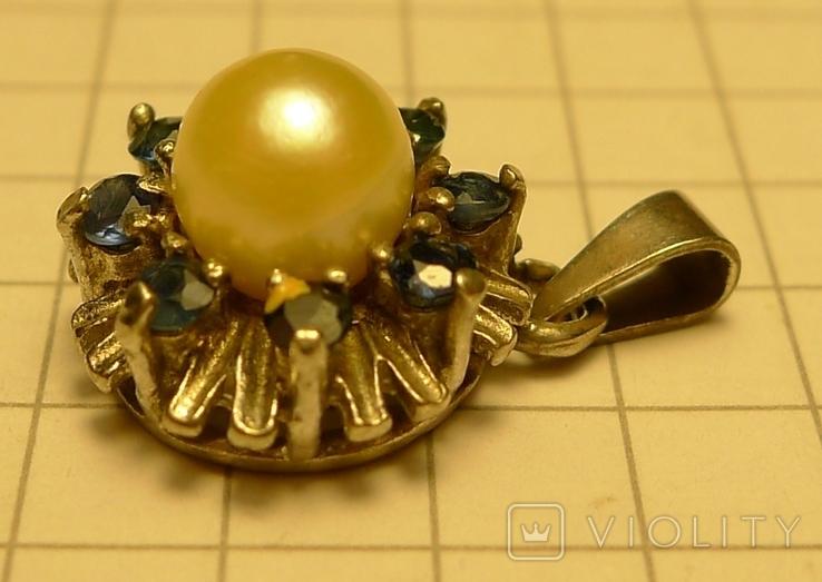 Кулон с голубыми камнями и жемчужиной 925 проба серебро., фото №4