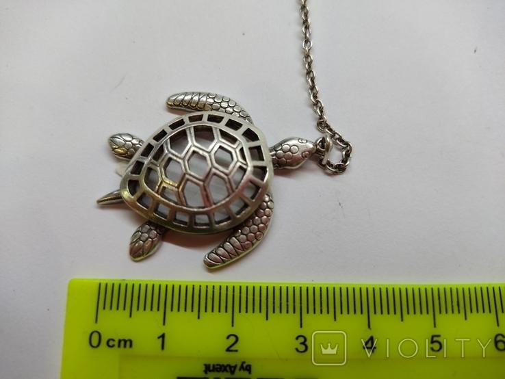 Кулон подвеска Черепаха серебро 925, фото №4