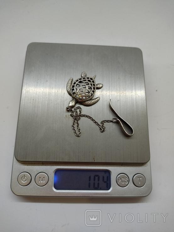 Кулон подвеска Черепаха серебро 925, фото №11