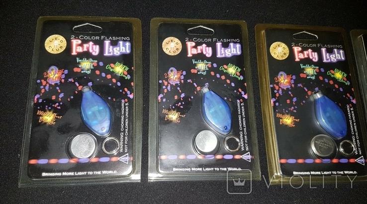 Брелок Partu Light Color Flashing LED со светодиодом батарейка 5 штук, фото №2