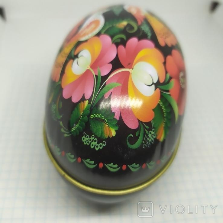 Жестяная баночка в форме яйца с росписью. 11х6х7см, фото №4