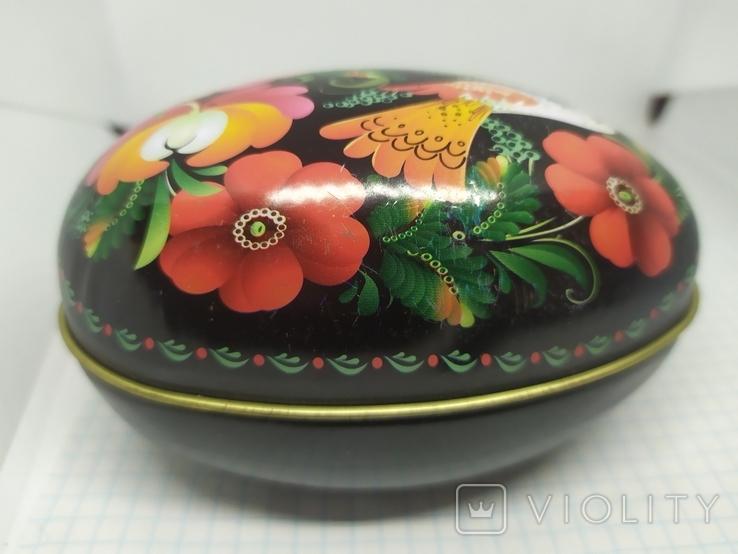Жестяная баночка в форме яйца с росписью. 11х6х7см, фото №5