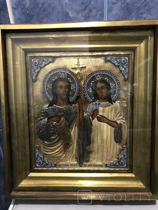 Иоан Креститель и Св. Муч. Нажежда. 84. Огненое золочение. 31 х 27 см. Ємали., фото №4