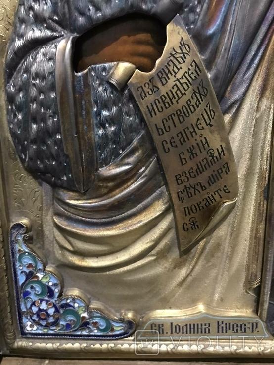 Иоан Креститель и Св. Муч. Нажежда. 84. Огненое золочение. 31 х 27 см. Ємали., фото №6