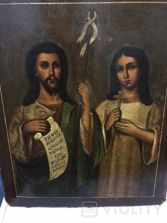 Иоан Креститель и Св. Муч. Нажежда. 84. Огненое золочение. 31 х 27 см. Ємали., фото №10