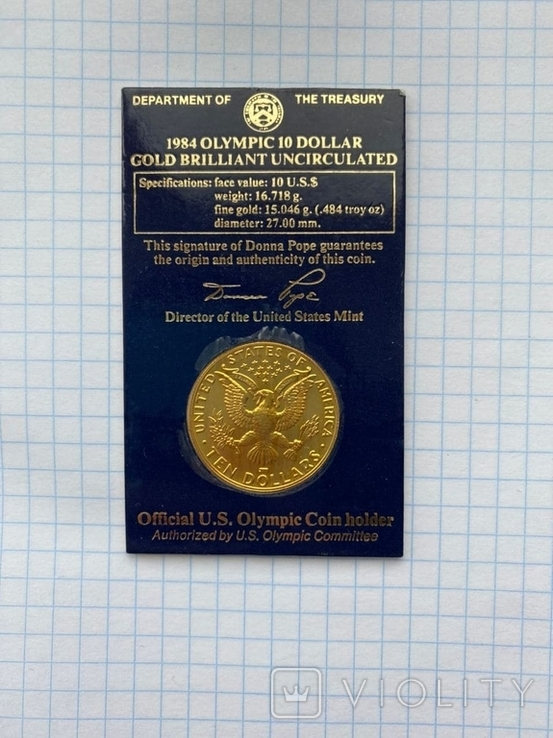 10 долларов США 1984г.Олимпиада,Olympic 10 dollars, фото №2