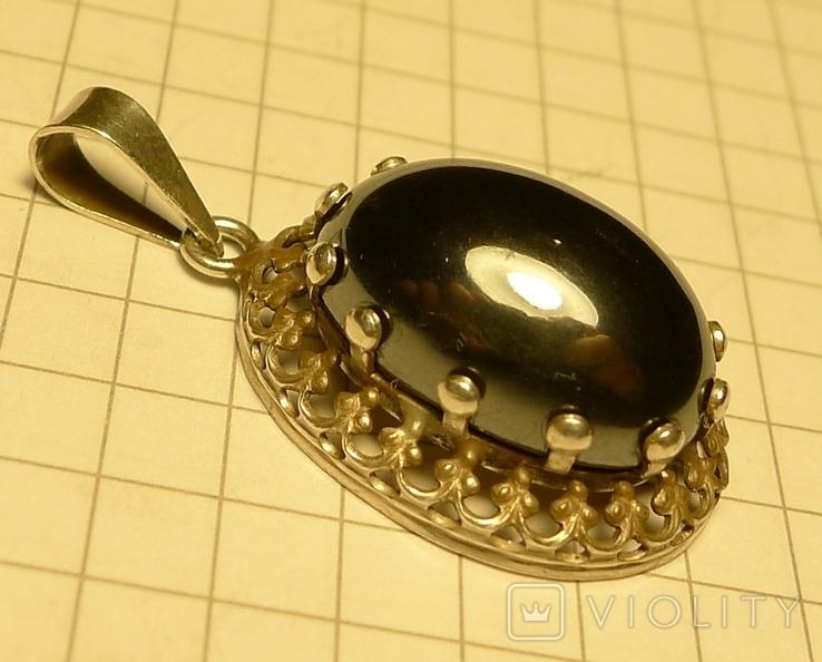 Старый немецкий кулон 835 проба с чёрным камнем., фото №3