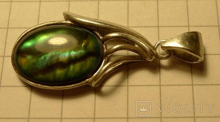 Кулон ручной работы 925 пробы с зелёным камнем. Клеймо., фото №3