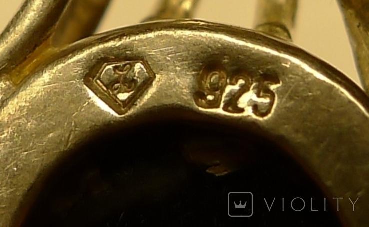 Кулон ручной работы 925 пробы с зелёным камнем. Клеймо., фото №9
