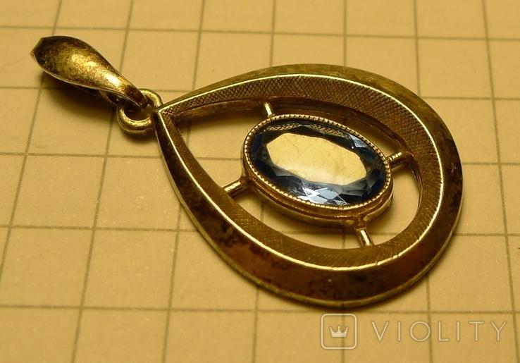 Каплевидный кулон 830 S проба с голубым камнем., фото №3