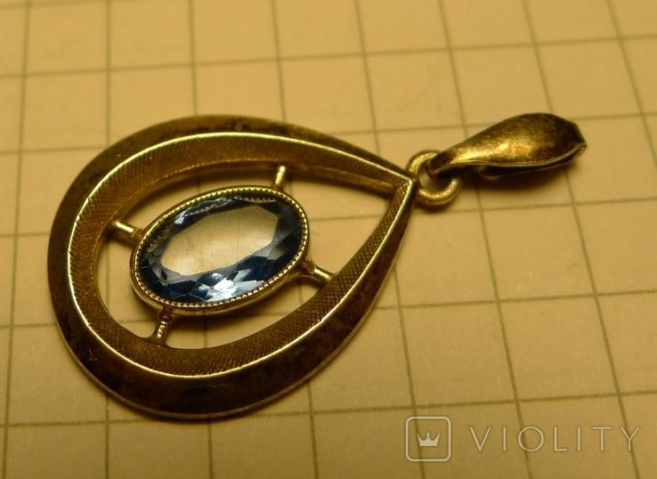 Каплевидный кулон 830 S проба с голубым камнем., фото №5