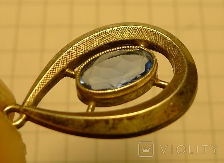 Каплевидный кулон 830 S проба с голубым камнем., фото №6