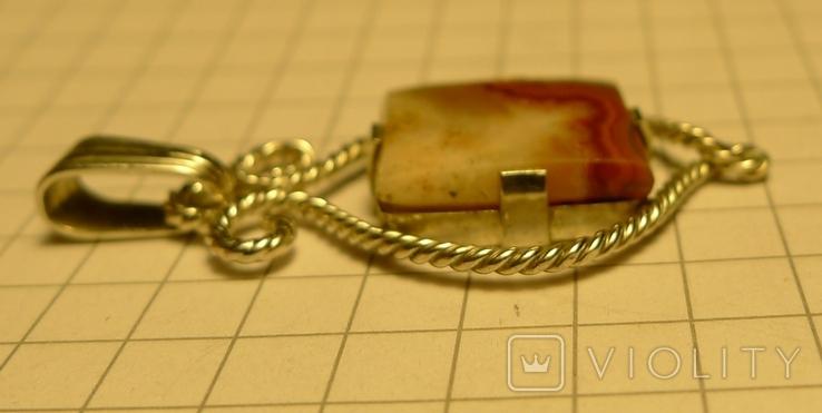 Кулон ручной работы 835 проба с камнем. Клеймо, фото №10