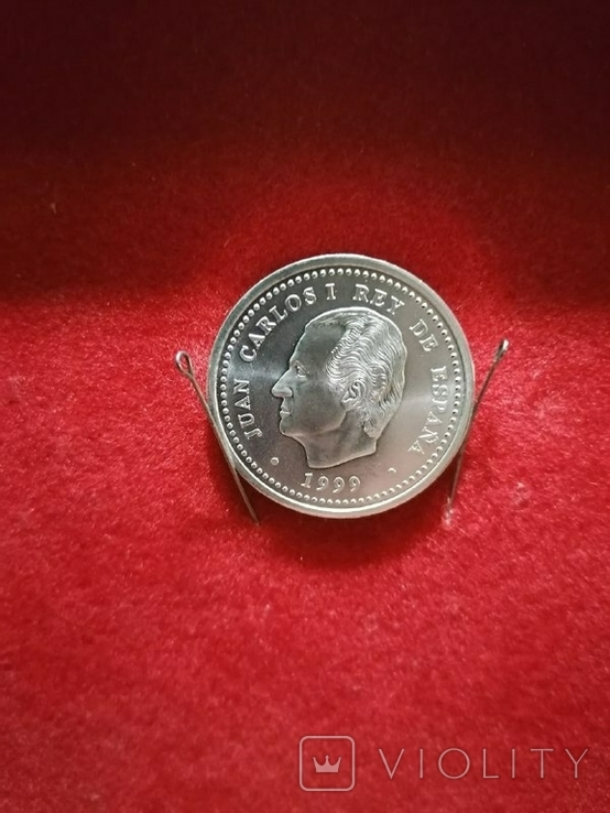 Серебряная монета. Испания, 1999 (Путешествие в Сантьяго по пути Святого Иакова), фото №3