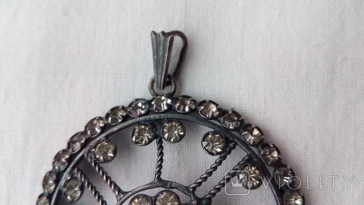 2596 кулон подвеска ссср серебро 875 камни, фото №3