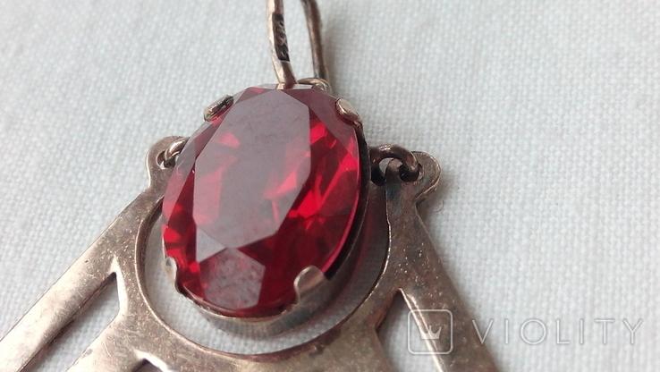 2601 кулон подвеска ссср серебро 875 позолота большой камень в центре, фото №3
